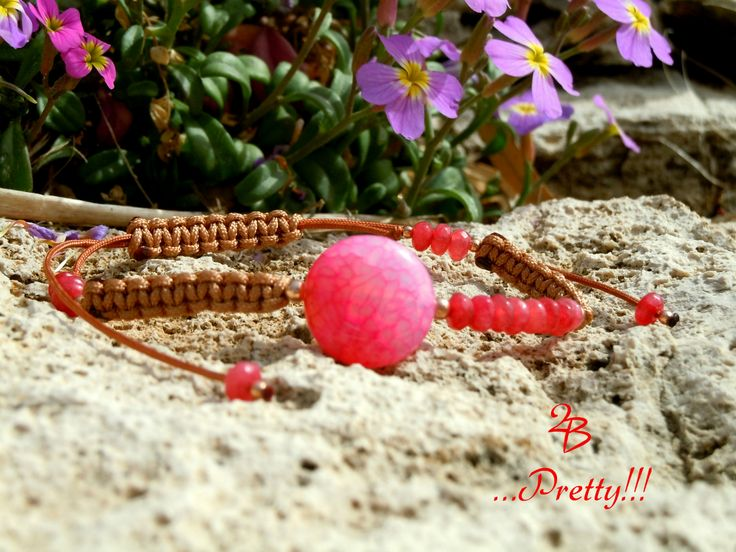 2B  ...Pretty!!!  Lovely pink color agate stone bracelet with a casual style!!!