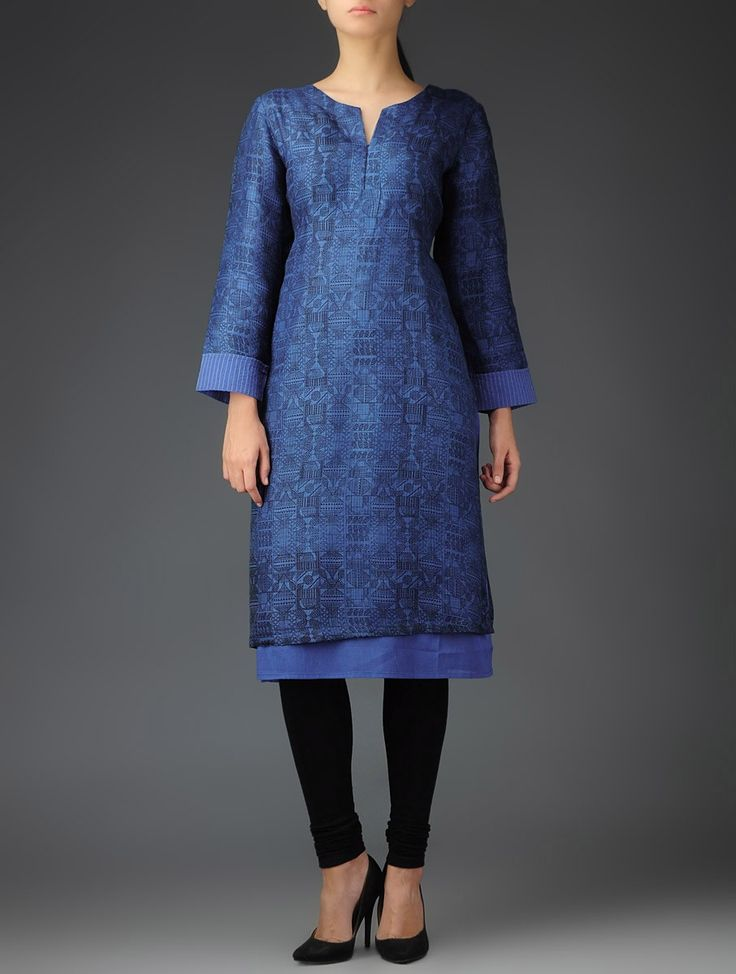 Blue Kota Silk Block Printed Extended Lining Sleeves Kurta