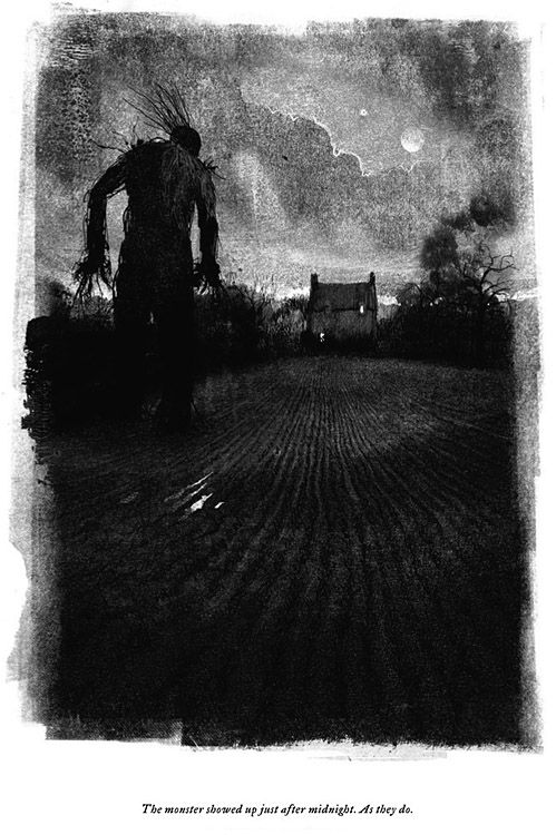 """A Monster Calls"" Aeron Alfrey, 'The monster showed up after midnight. As they do.' - Amazing fantasy novel for children written by Patrick Ness. Jim Kay Illustration."