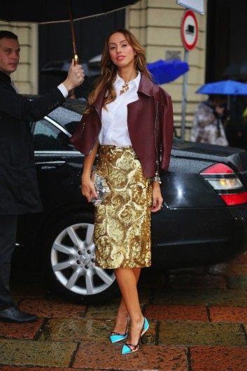 Milana Koroleva tijdens Milan Fashion Week: http://glamour.nl/jcxmx66bw