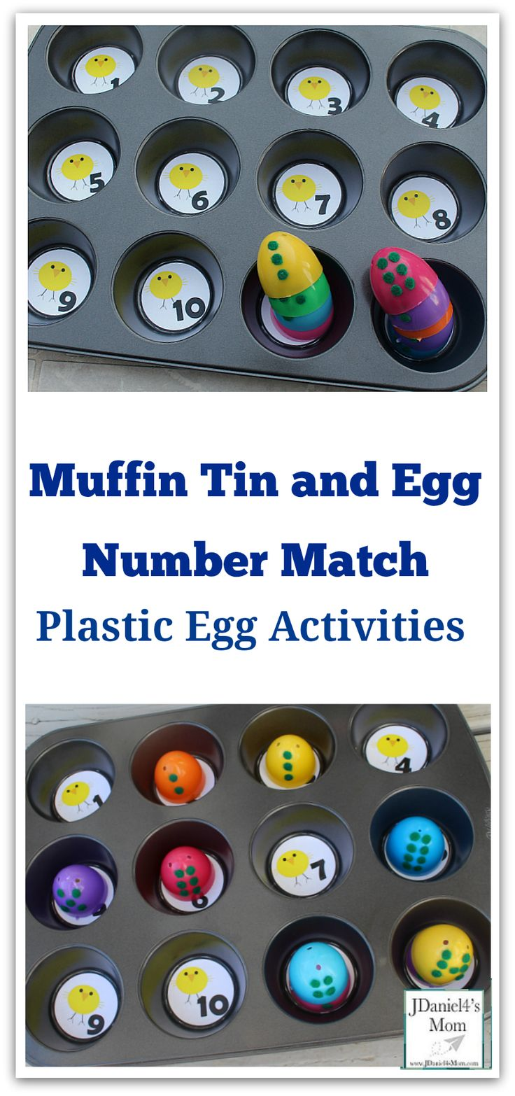 Easter Egg Game - Muffin Tin and Egg Number Match : This activity includes a free printable set of muffin tin numbers with a chick theme.