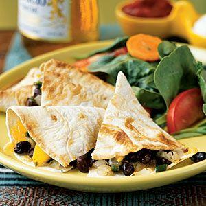 Superfast Vegetarian Recipes   Poblano, Mango, and Black Bean Quesadillas   CookingLight.com