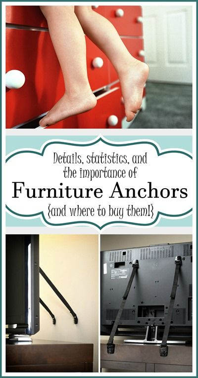 It's SO IMPORTANT to anchor your furniture and TV's to the wall for safety! Click here for details and options. {Sawdust and Embryos}