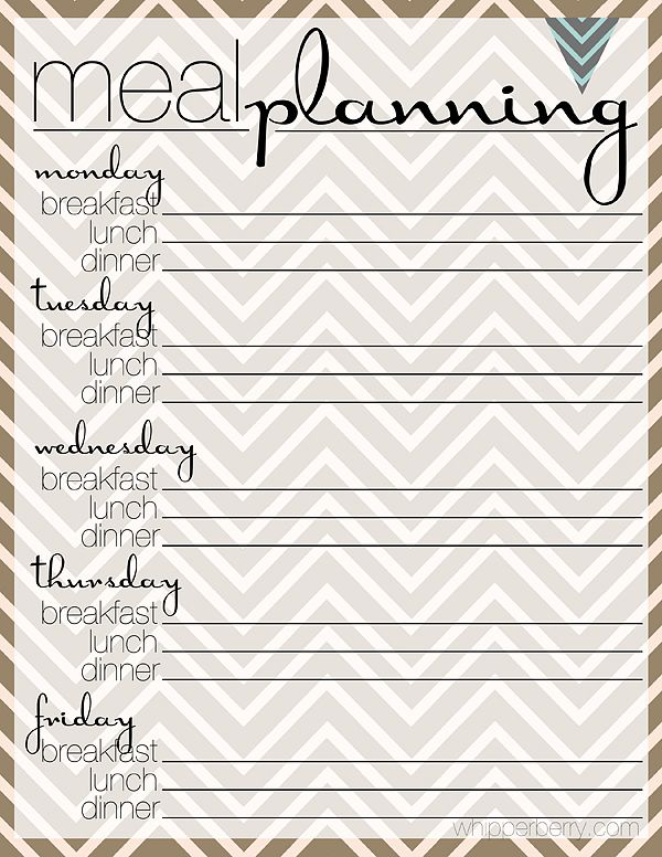Best Menu Planning Images On   Free Printables