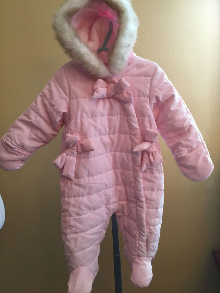 First Impressions Soft Pink Baby Snowsuit Bunting Bows and Fur Trim Hood Sz 3-6M | eBay