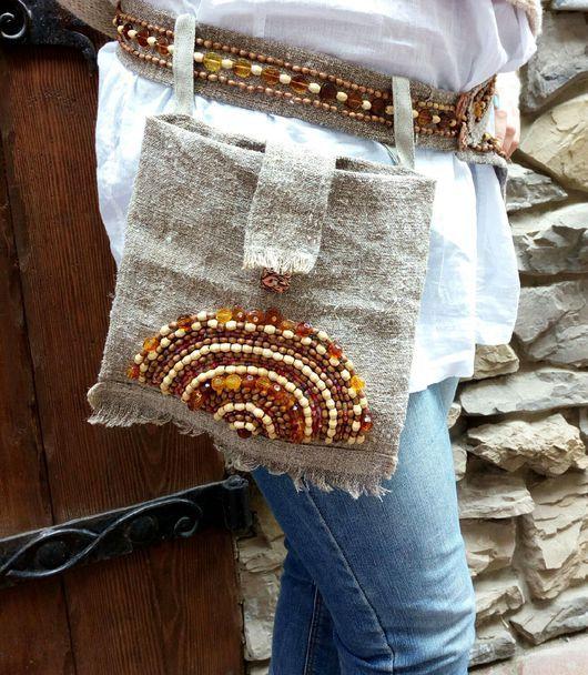"""Большие размеры ручной работы. Ярмарка Мастеров - ручная работа. Купить Вышитый пояс и набедренная сумка  бохо """"янтарь"""". Handmade."""