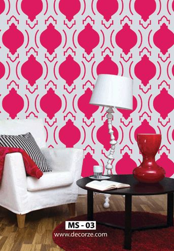 22 best images about geometric wall painting stencils on - Wall painting stencils for living room ...