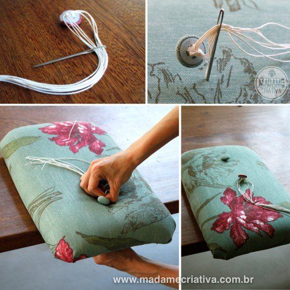 Cadeira Reformada - Como restaurar madeira lascada e revestir cadeira com tecido e botão