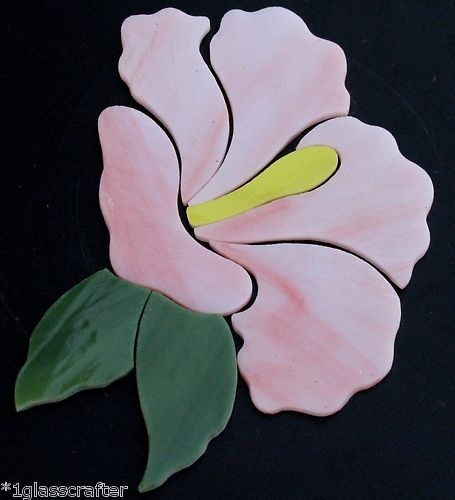Hibiscus flower stained glass precut. Great for mosaic projects.