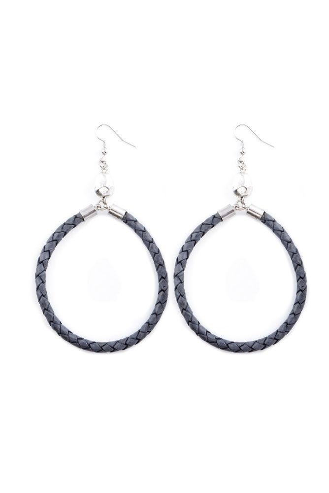 striking and stunning hand-made braided hoop earrings in grey