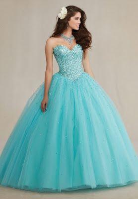 diseños de Vestidos de 15 Años Color Menta