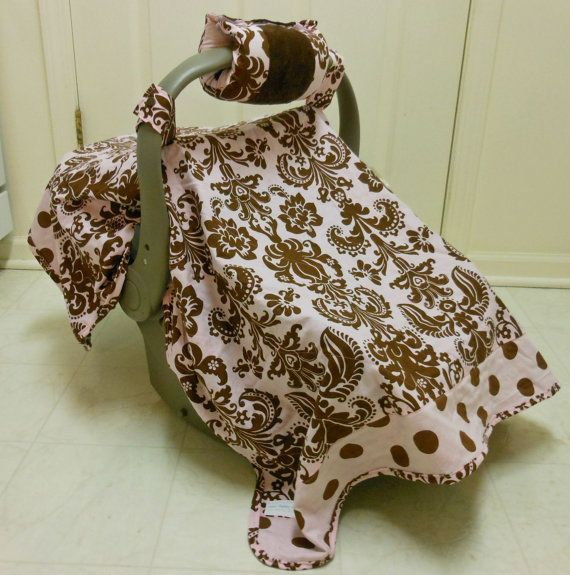 Boutique Quality Handmade Car Seat Set - Canopy, Arm Cushion, Pacifier Clip and Strap Covers