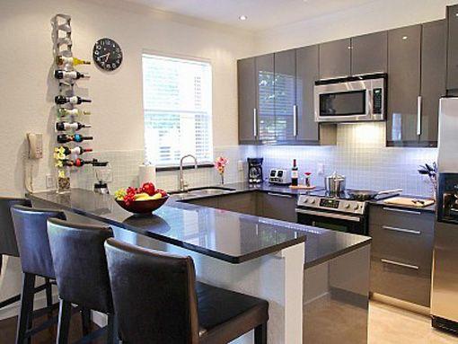 Kitchen With Bar Window Grey Shaped U Kitchen