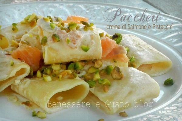 Paccheri in crema di Salmone e Pistacchi
