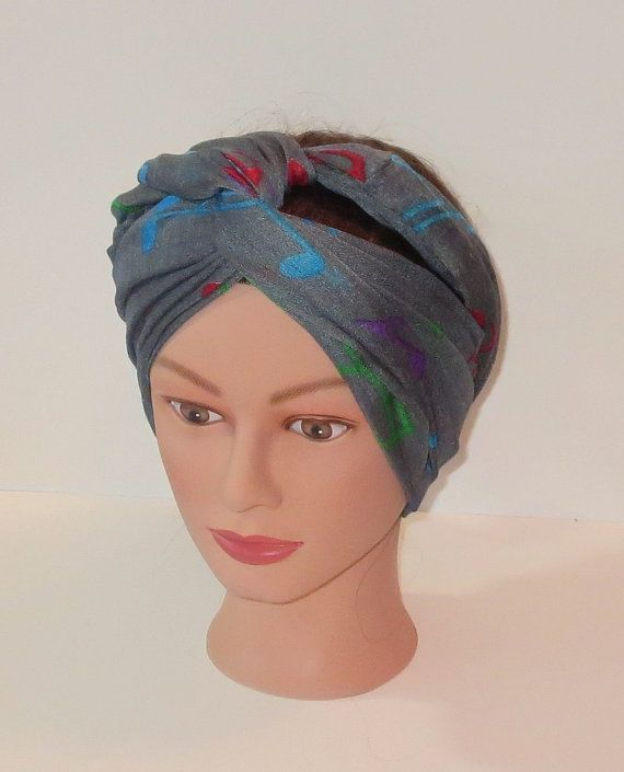 Gray Turban Hairwrap Infinity Scarf with Musical by TiStephani, $22.00