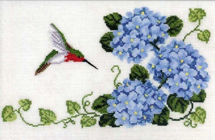 Hydrangea & Hummingbird Cross Stitch Leaflet   eBay $9.50