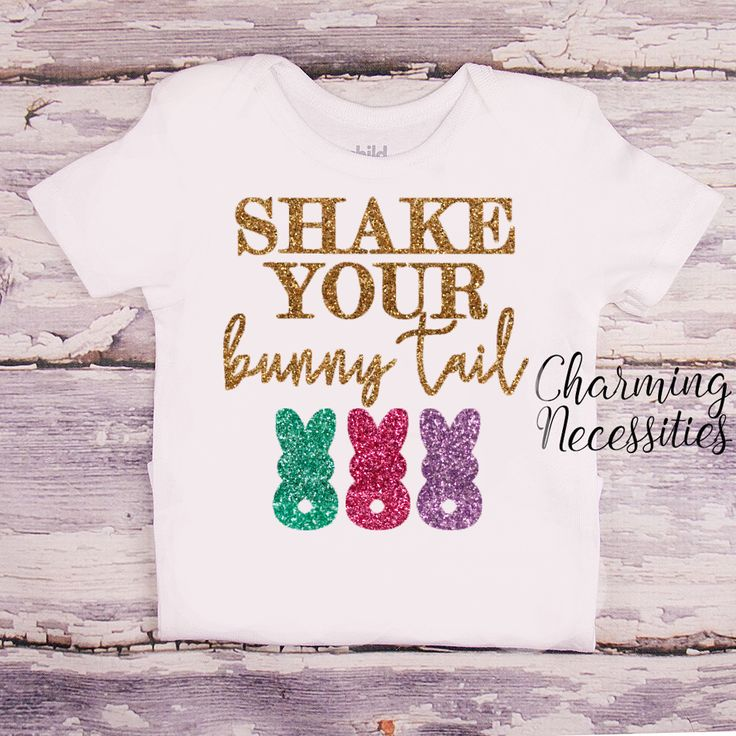 Shake Your Bunny Tail - Baby Toddler Girls Easter Glitter Top - Easter Bunny, Baby Shower Gift, Sparkle Shirt - Charming Necessities