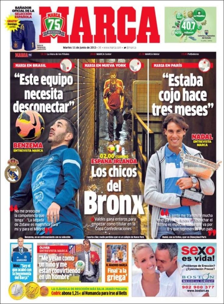 Los Titulares y Portadas de Noticias Destacadas Españolas del 11 de Junio de 2013 del Diario Deportivo Marca ¿Que le parecio esta Portada de este Diario Español?