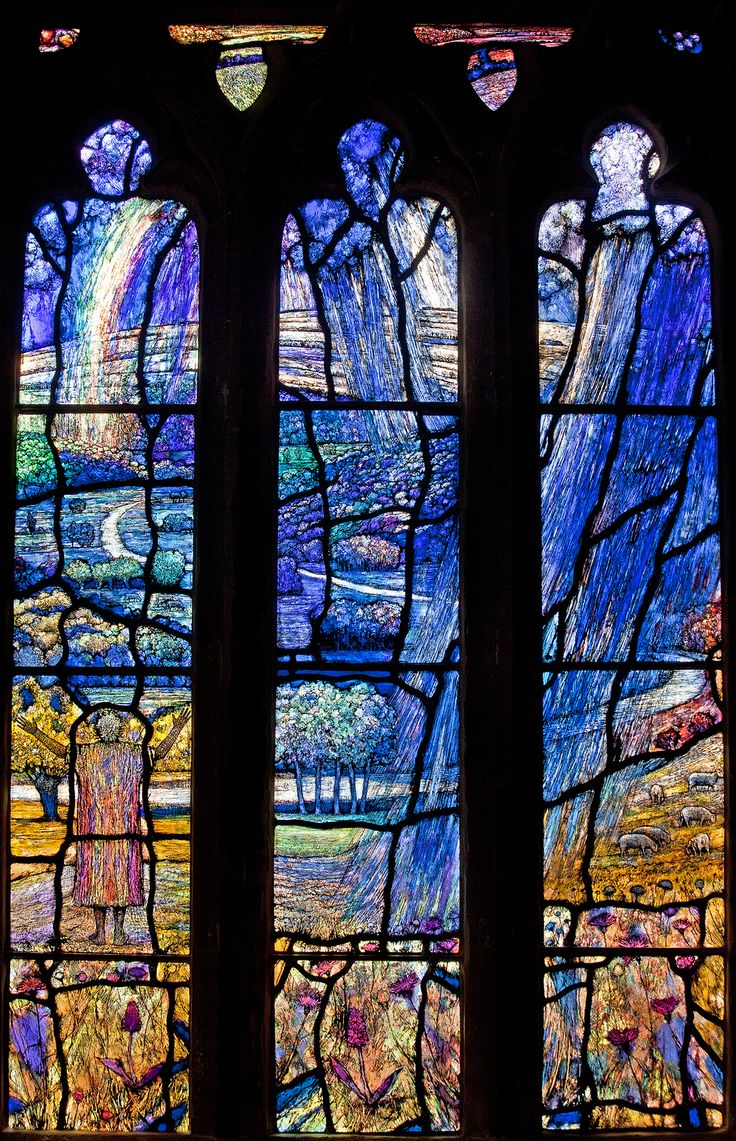 https://flic.kr/p/iqkmGN   All Saints, Middle Woodford, Wiltshire Denny sgw   Thomas Denny's 2013 window has as its theme Psalm 65. It is memorial to Anne and David Rasch of Heale House. Like many of Denny's windows local landscapes are depicted; here is a river, perhaps the Salisbury Avon, winding across and through the three lights with clusters of trees on its banks, in the meadows and on the downlands above the valley. Locally found plants are grouped at the foot. Weather is…