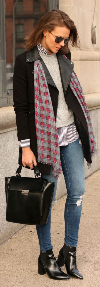 Grey And Red Tartan Scarf by Penny Pincher Fashion