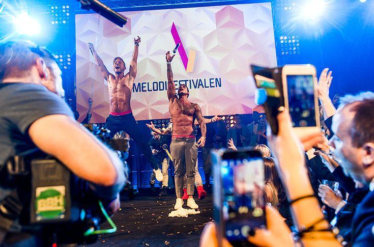Samir och Viktor på Melodifestivalens finalefterfest i Stockholm.