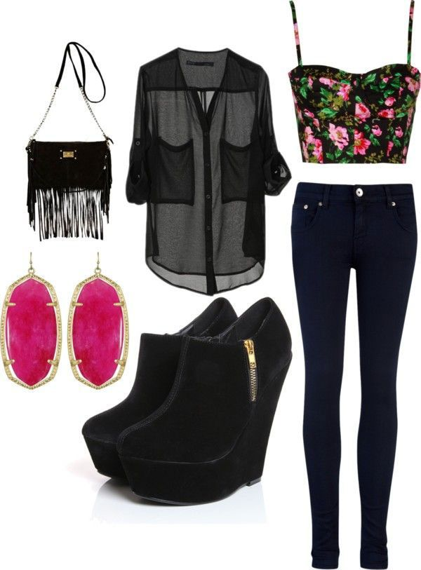 Pair a sheer top over a bright crop top, and add some fun accessories.   Read more: http://www.gurl.com/2015/05/02/style-tips-on-how-to-wear-sheer-tops-shirts-outfit-ideas/#ixzz3ZK5rS7Hq