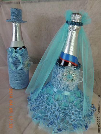 Свадебные наряды на шампанское - голубой,бирюзовый,белый,бусины,фатин