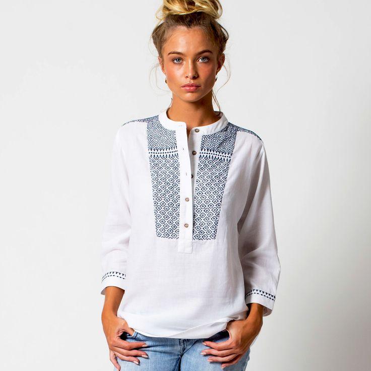 Embroidered folk tunic in indigo