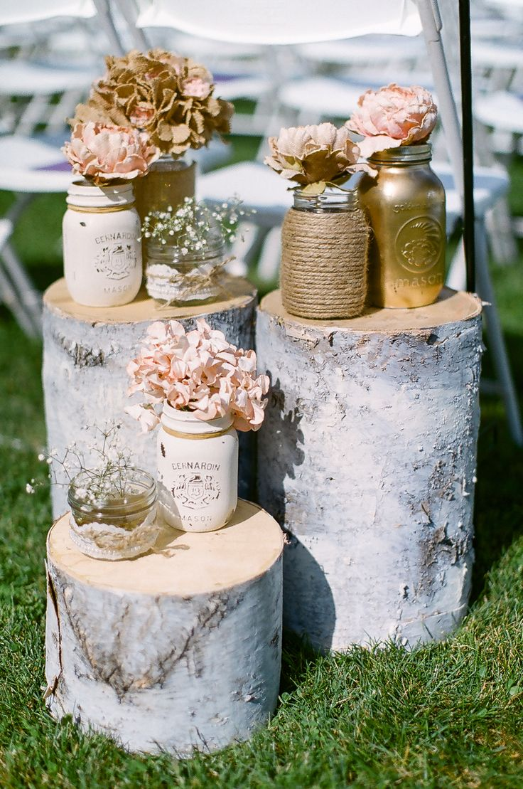 Poplar Tree Log Wedding, Gold Pink Mason Jar Ideas #PoplarWedding #MasonJarWedding