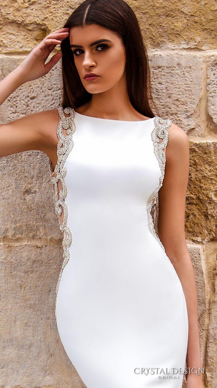 crystal design bridal 2016 sleeveless bateau neckline lightly embellished elegant chic modern sheath wedding dress low back chapel train (july) zv