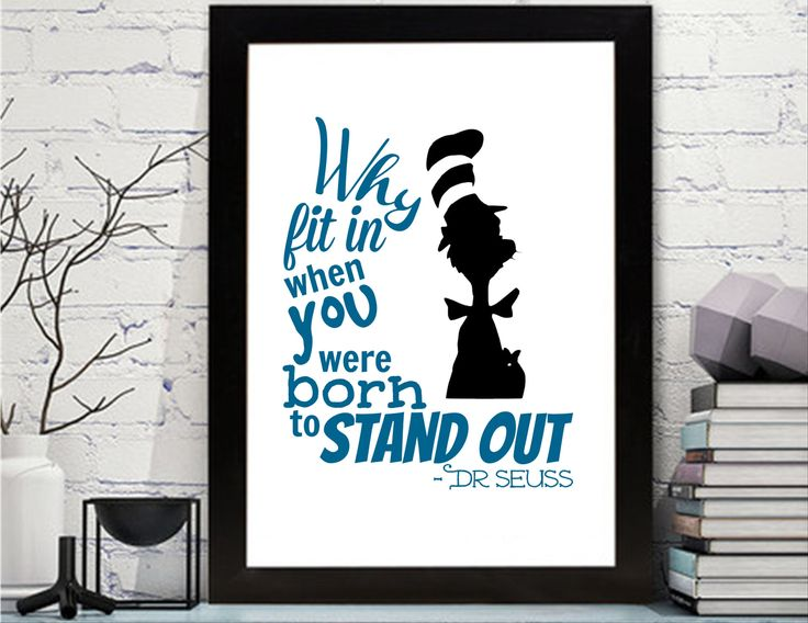 Dr. Seuss Quotes Printable - Dr. Seuss - Wall Art - Dr Seuss Nursery Art, Dr. Seuss Decor, The Cat in the Hat Nursery Wall Art by KleezPrints on Etsy