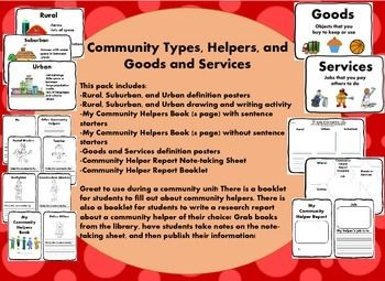 Community Types, Helpers, and Goods and Services  This pack includes: -Rural, Suburban, and Urban definition posters -Rural, Suburban, and Urban drawing and writing activity -My Community Helpers Book (8 page) with sentence starters -My Community Helpers Book (8 page) without sentence starters -Goods and Services definition posters -Community Helper Report Note-taking Sheet -Community Helper Report Booklet  Great to use during a community unit!