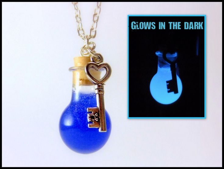 Glow in the Dark Mana Potion Round Glass Vial Necklace (Tiny Cork Bottle & Key), Blue, PC Gamer, Video Game, w/ Metal Chain or Leather Cord by SDCbyEuphyley on Etsy https://www.etsy.com/listing/251534535/glow-in-the-dark-mana-potion-round-glass