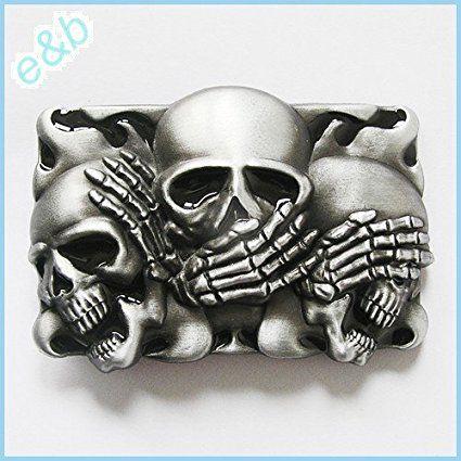 Brand:e&b NEW Casino Three Smiling Skulls Belt Buckle Cs-041bk