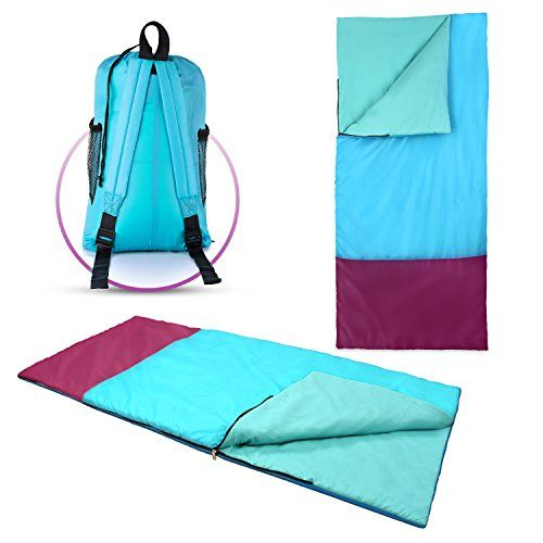Kids or Children's Junior Sleeping Bags – Polyester Ultralight Sleeping Bag for Camping & Hiking – Withstands Extreme Temp. of 32-60°F – Includes Backpack for Storage & Carrying. For product & price info go to:  https://all4hiking.com/products/kids-or-childrens-junior-sleeping-bags-polyester-ultralight-sleeping-bag-for-camping-hiking-withstands-extreme-temp-of-32-60f-includes-backpack-for/