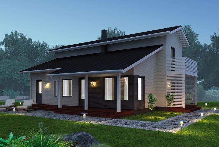 Monien mahdollisuuksien julkisivu – Juhani: 133 m², 3 makuuhuonetta, 2-kerroksinen omakotitalo
