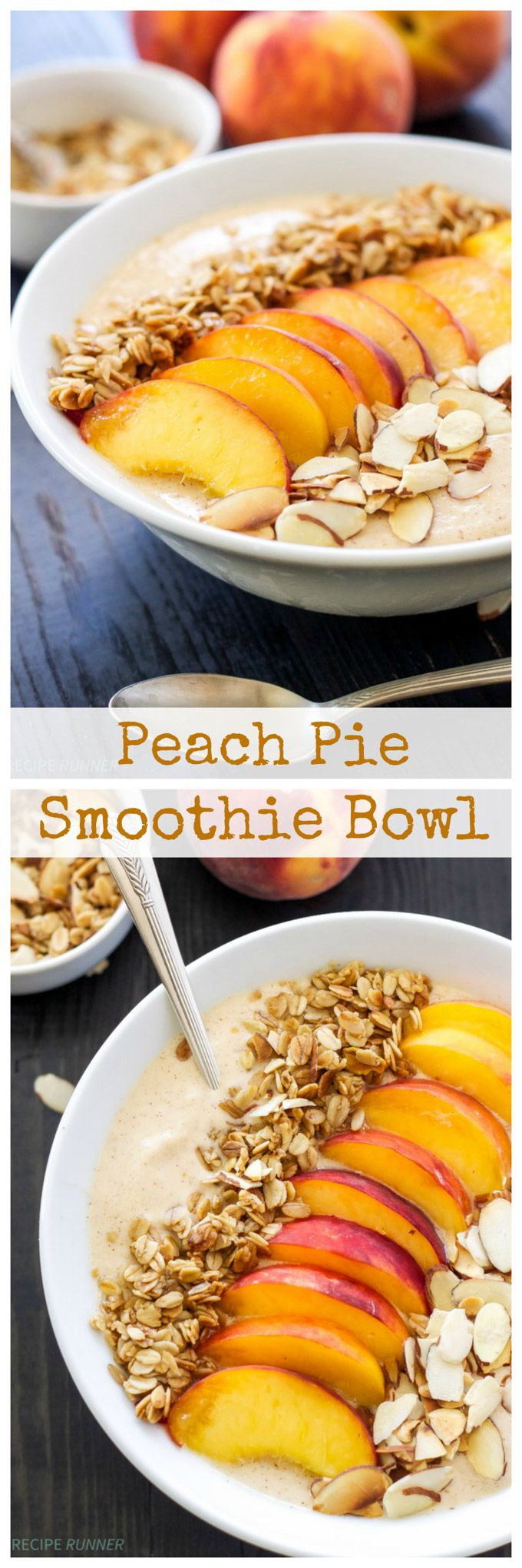 Peach Pie Smoothie Bowl by spoonfulofflavor: Thick, creamy, full of protein, and tastes just like a piece of peach pie! #Breakfast #Smoothie_Bowl #Peach #Healthy