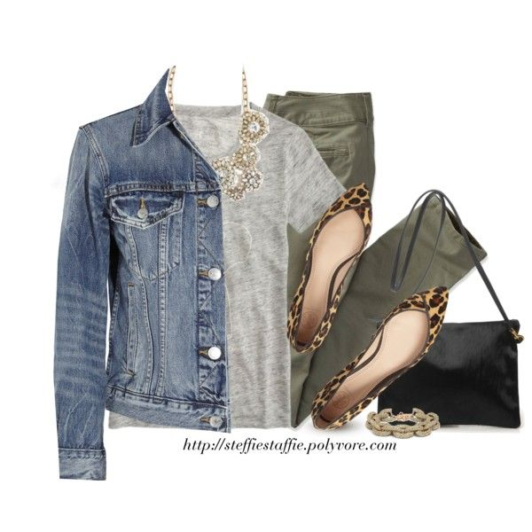 """Denim, Army green & Leopard"" by steffiestaffie on Polyvore"
