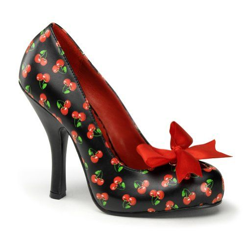 4 1/2 Rockabilly Pattern Pump Shoes Sexy High Heel Shoes Red Bow Cherries or Polka Dots Size: 9 Colors: Cherry  #Shoes