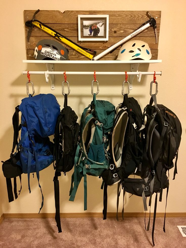 Backpack hanger with ice axes and helmets