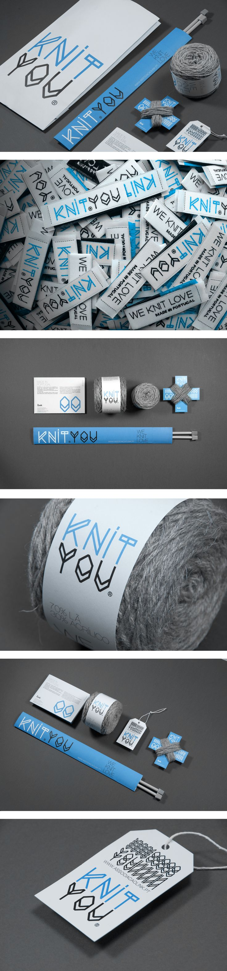 UMA Studio has designed a brand identity and packaging for Knit You, a non-profit organization for Alzheimer's sufferers. Knit You is a knit cloth and accessory brand made by people that live and work in alzheimer hospices care institutions. The logo is reminiscent of a knit pattern and the entire package was designed to help volunteers get started on creating clothing and accessories. 100% of the profits from sales are distributed to senior citizens associated with the organization.