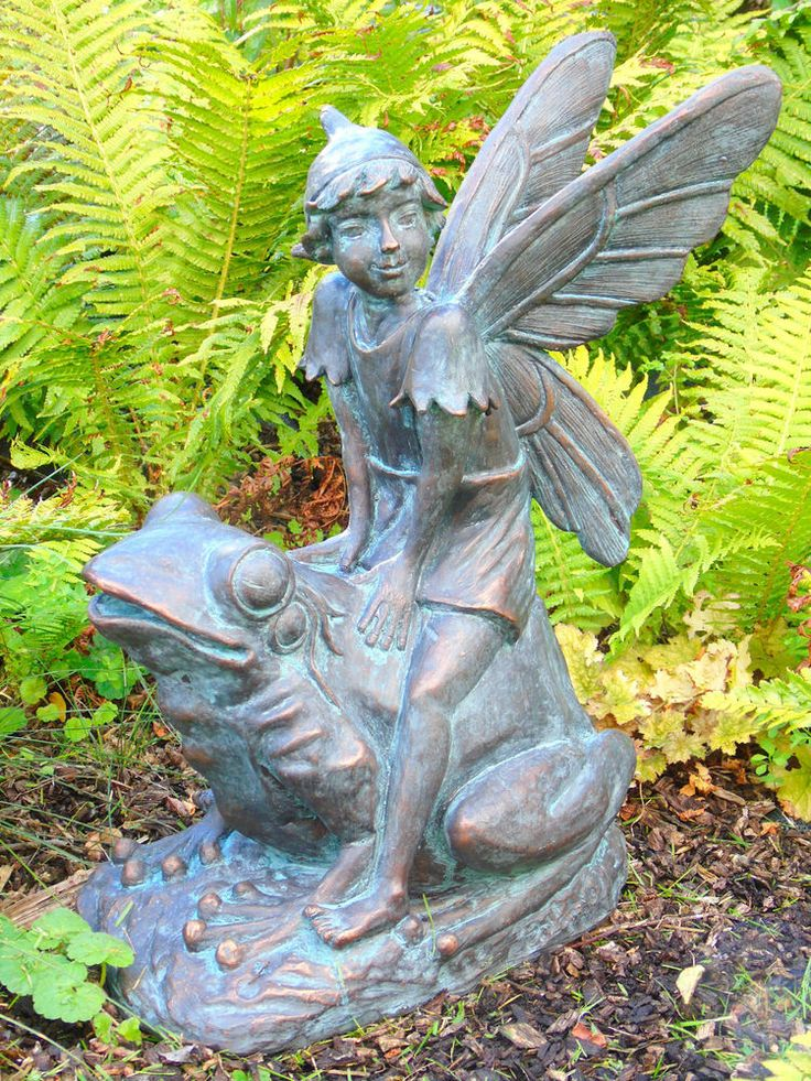Flower Fairy Garden Ornament Pixie Riding Frog. Bronze Effect. Cast In  Resin | Fairies! And Fantasy! | Pinterest | Garden Ornaments, Flower Fairies  And ...