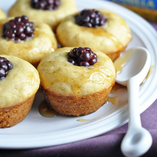 Portable mini pancake muffins made with vanilla almond milk, honey, and blackberries. Perfectly delicious breakfast for on the go!