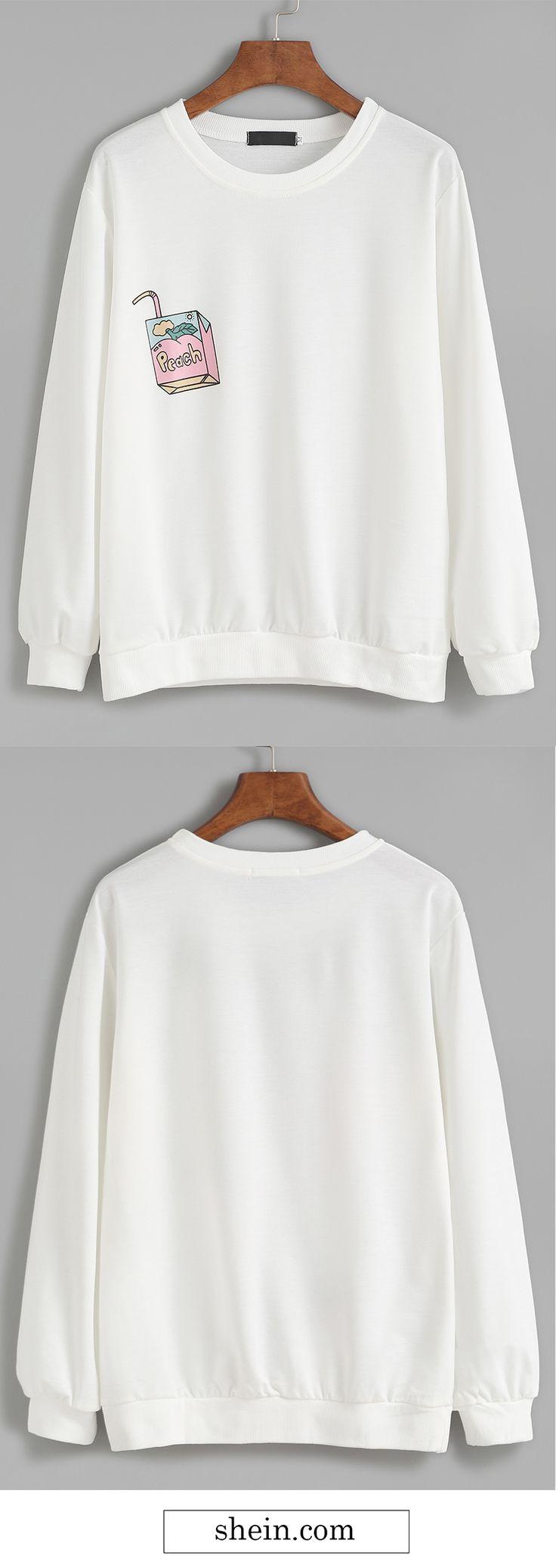 White Drawing Print Sweatshirt