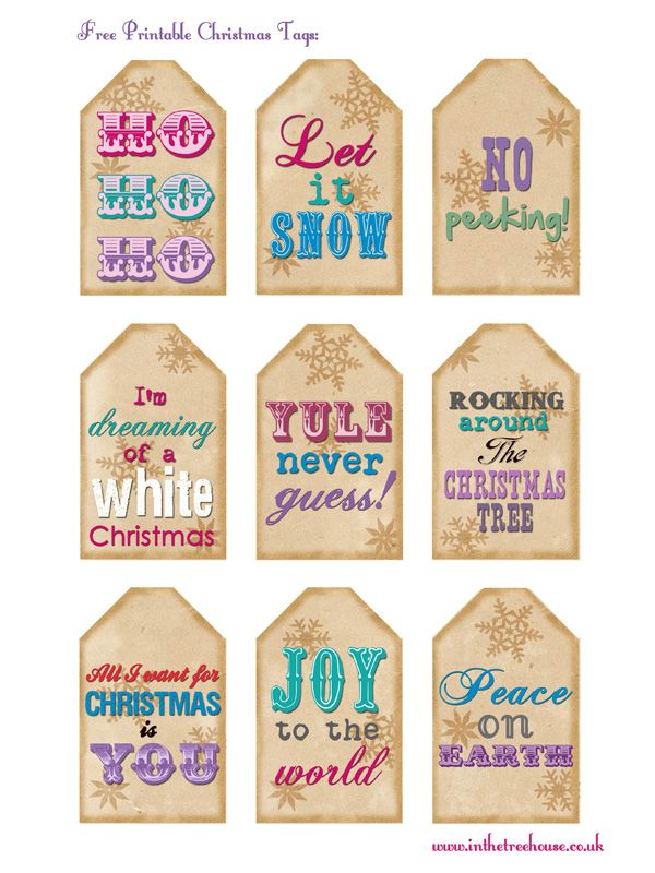 Great free printables library! Free printable Christmas tags by In the Treehouse for blog