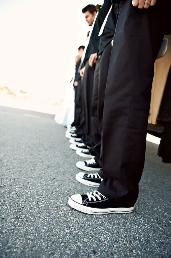 ".LOVE this converse ""Man"" black and white style, I know any guy would love to be able to rock his converse... maybe a white pair or matching for the bride to slip on for the reception"