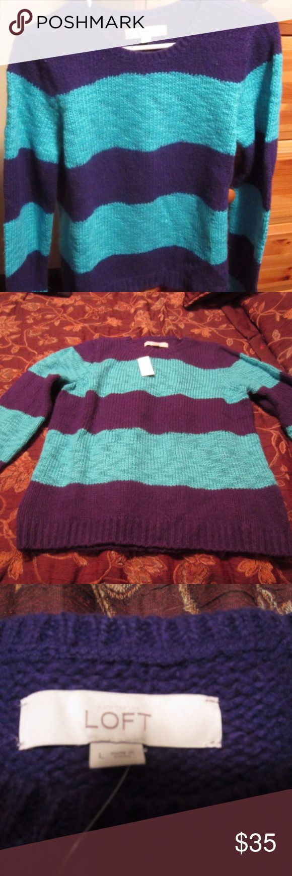 Anne Taylor Loft Striped Sweater WINTER IS COMING!  Get ready with this cute teal and navy striped long sleeved sweater! LOFT Sweaters Crew & Scoop Necks