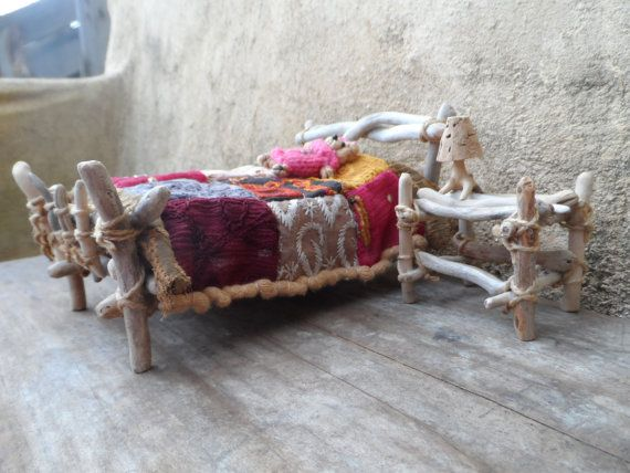 Driftwood miniature fufniture.The fairy bed by driftwoodtales