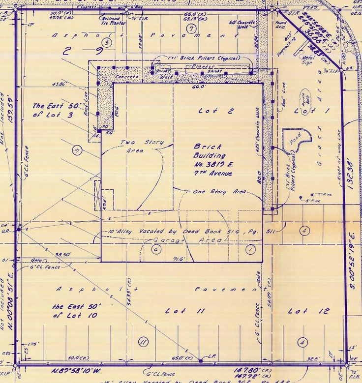 Hand drafted boundary survey with occupation