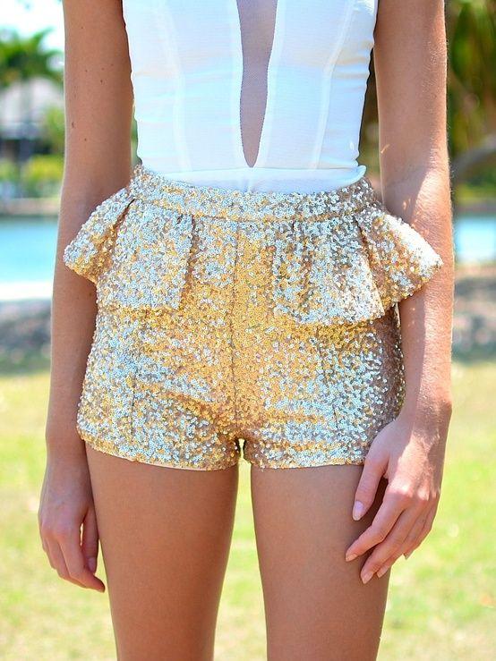 Peplum sequin shorts